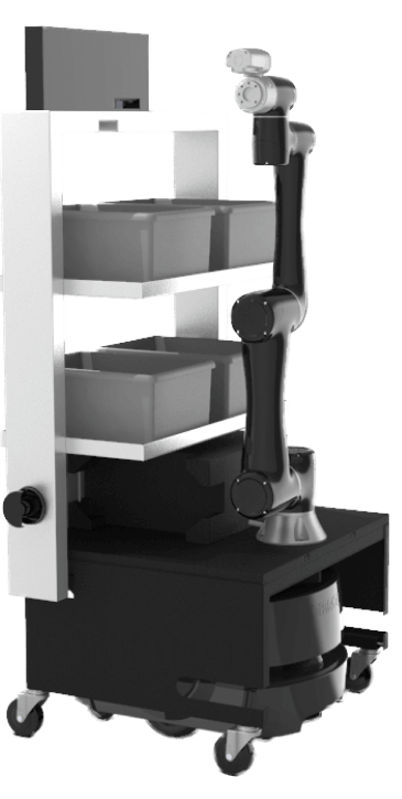 6-axis arm on a mobile base with shelf