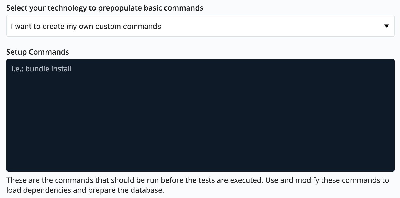 Test setup commands