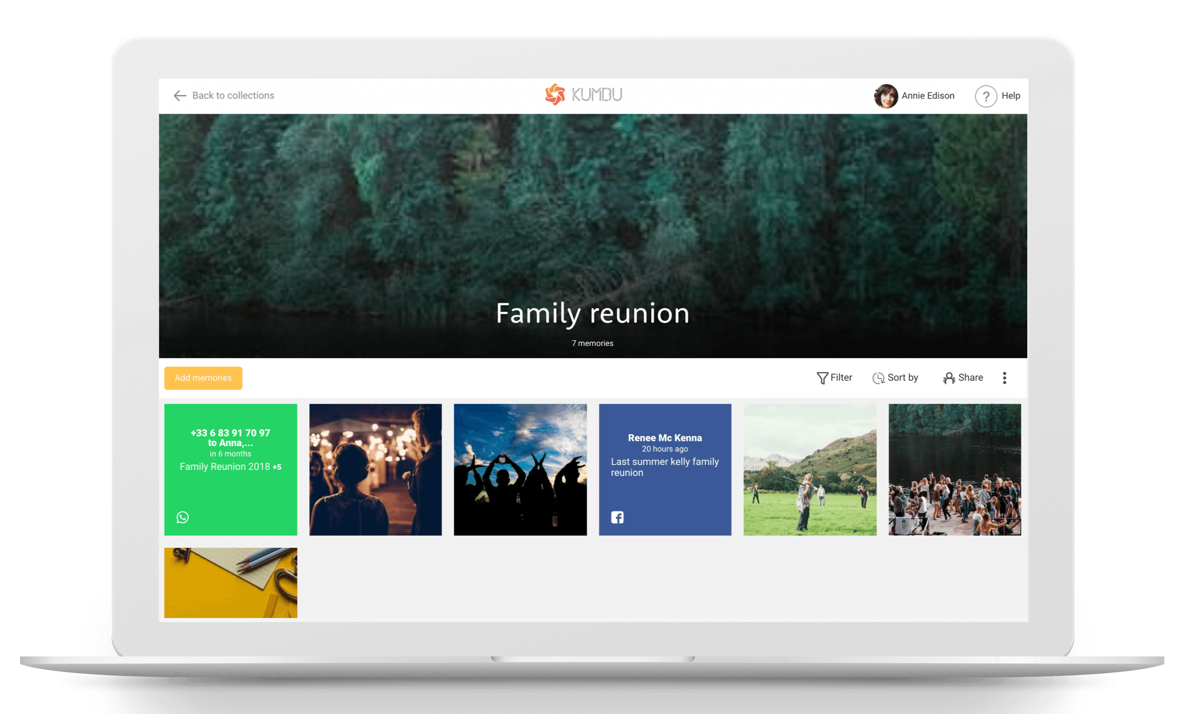 collect and share your family reunion memories with Kumbu