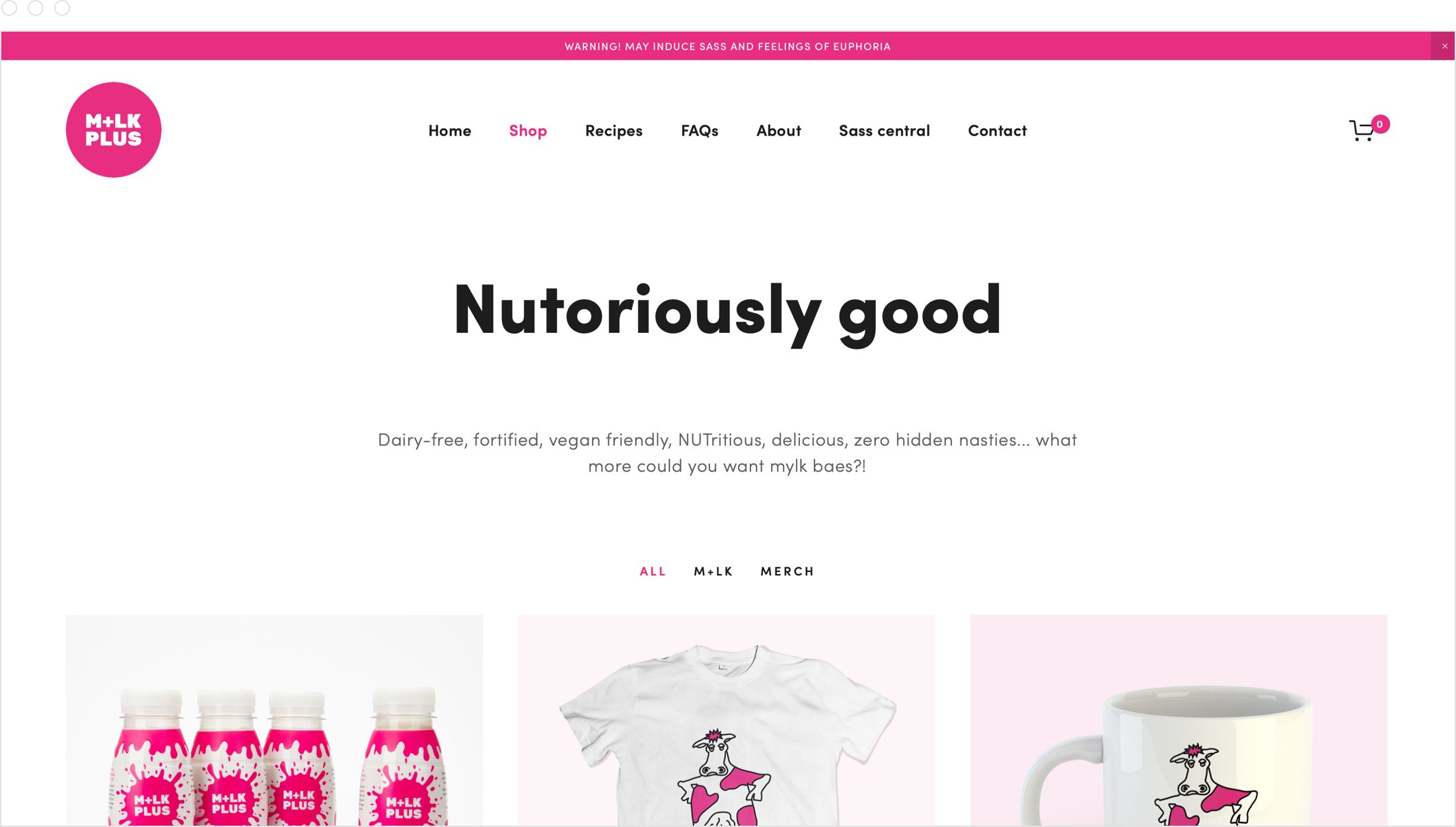 Creative, colourful and bright website design by Jack Watkins for Camilla Ainsworth's nut milk brand, M+LKPLUS