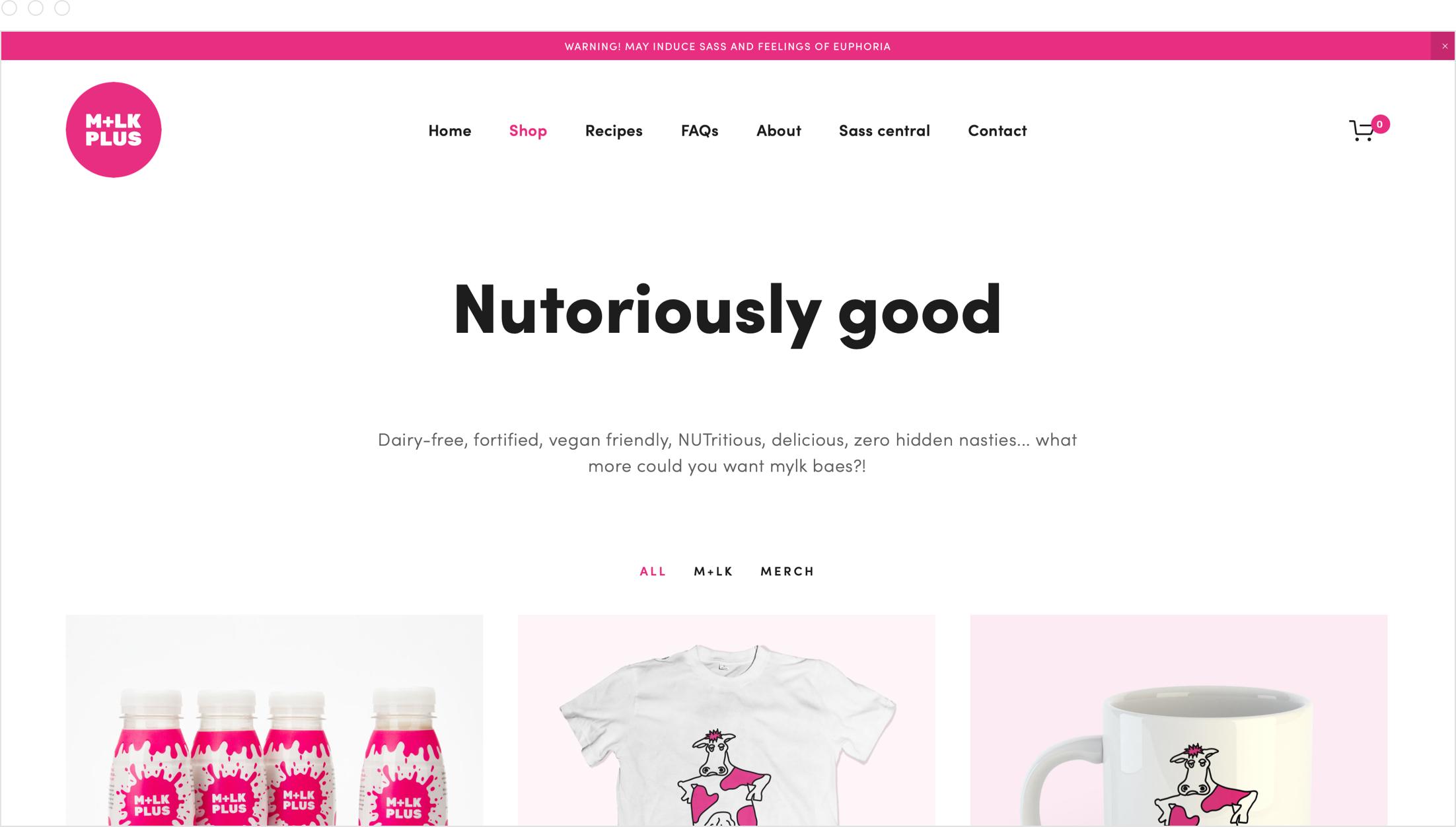 Website design by Jack Watkins for Camilla Ainsworth's nut milk brand, M+LKPLUS