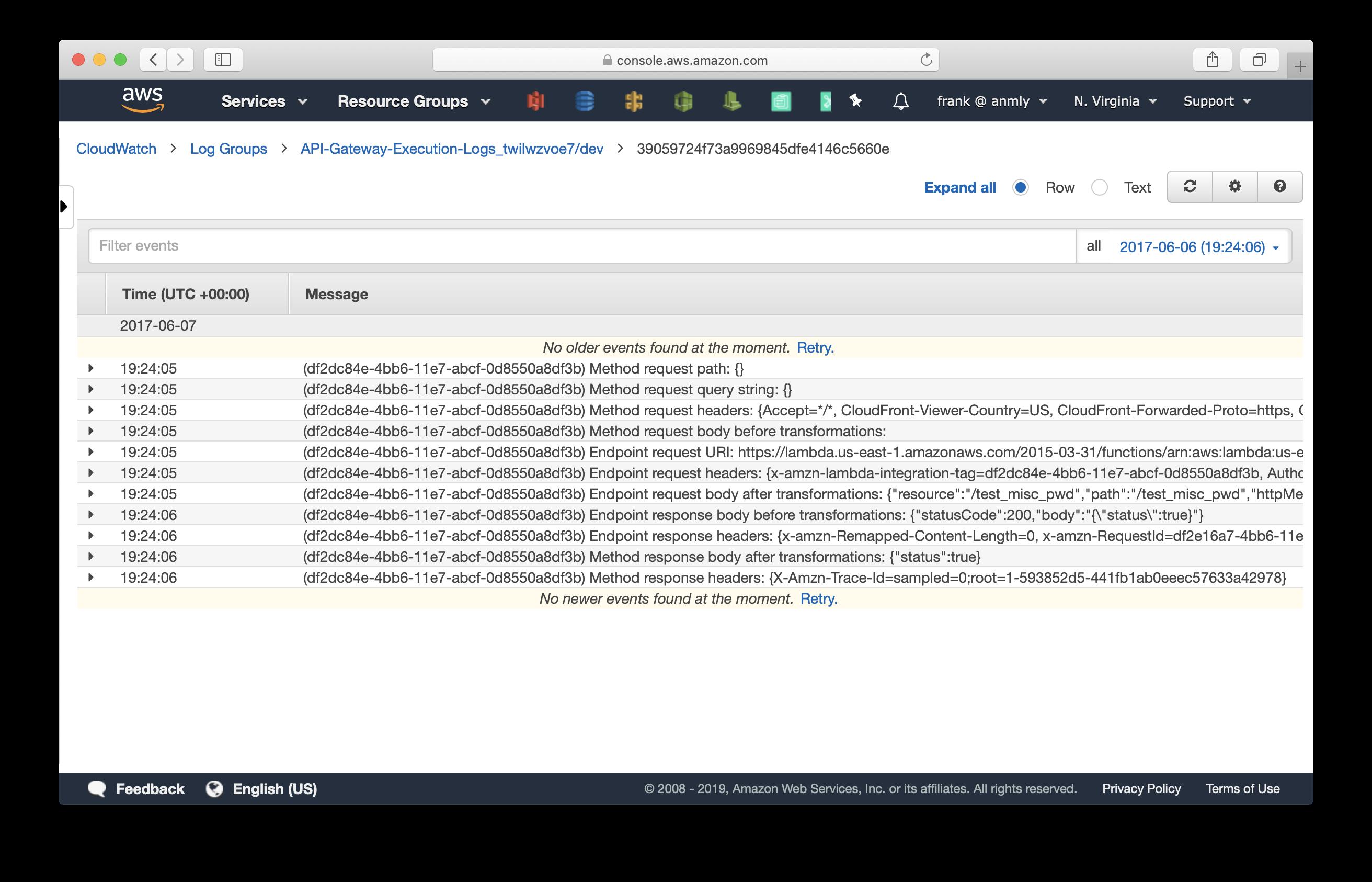 CloudWatch API Gateway Execution Logs