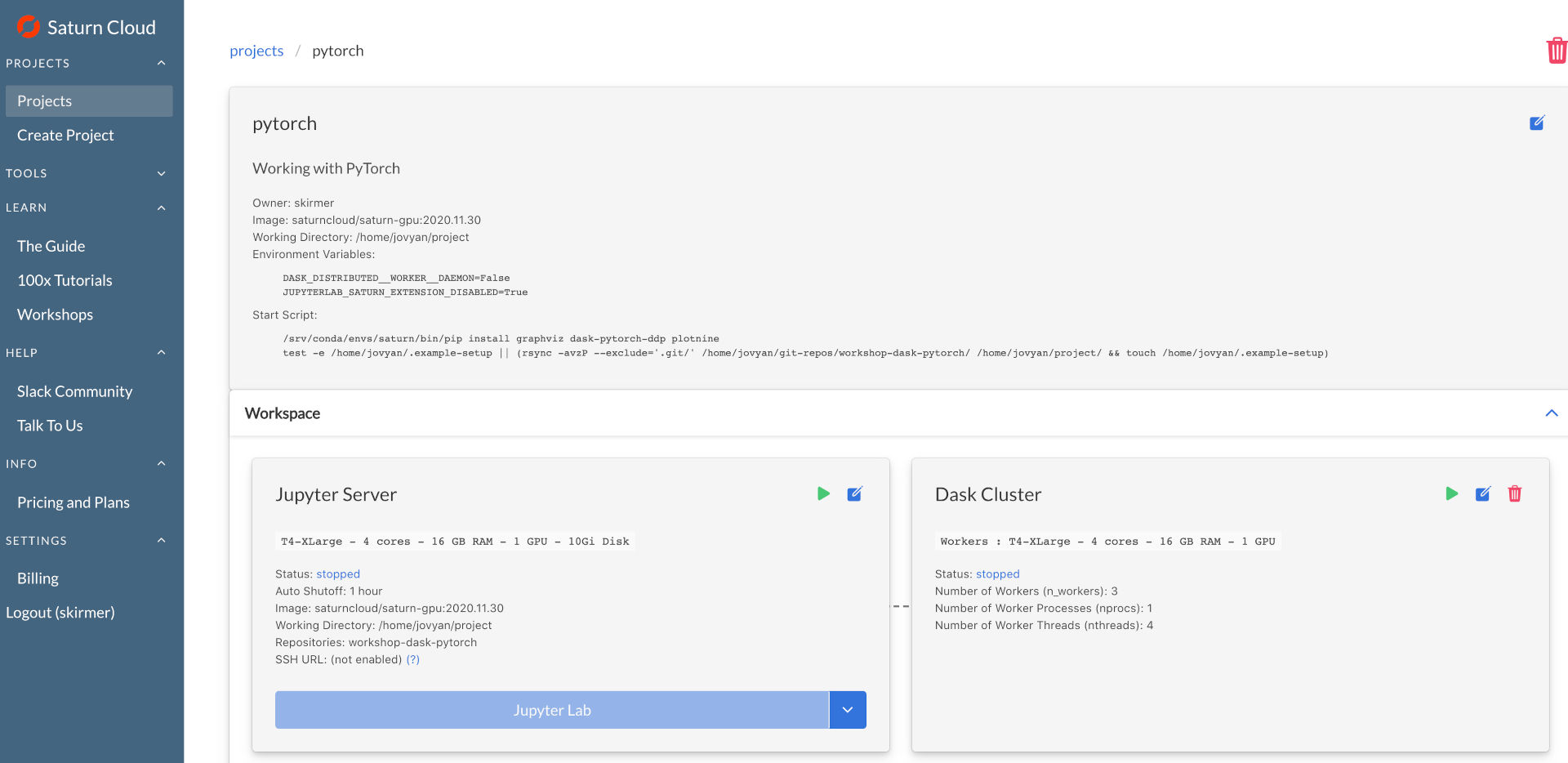 Screenshot of a quick start project page after creation, called 'pytorch'