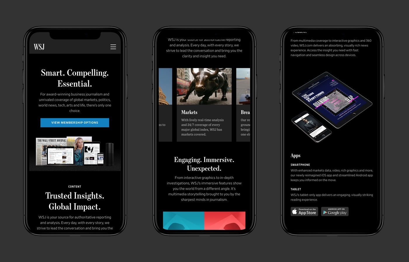 WSJ subscription marketing site – mobile.