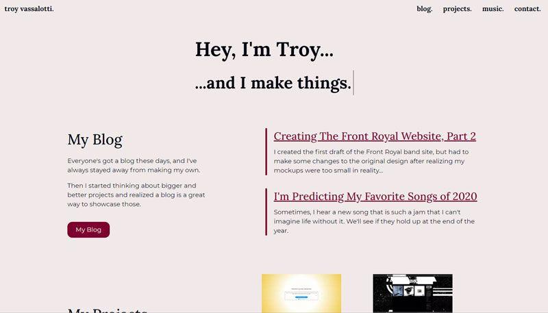My light mode website