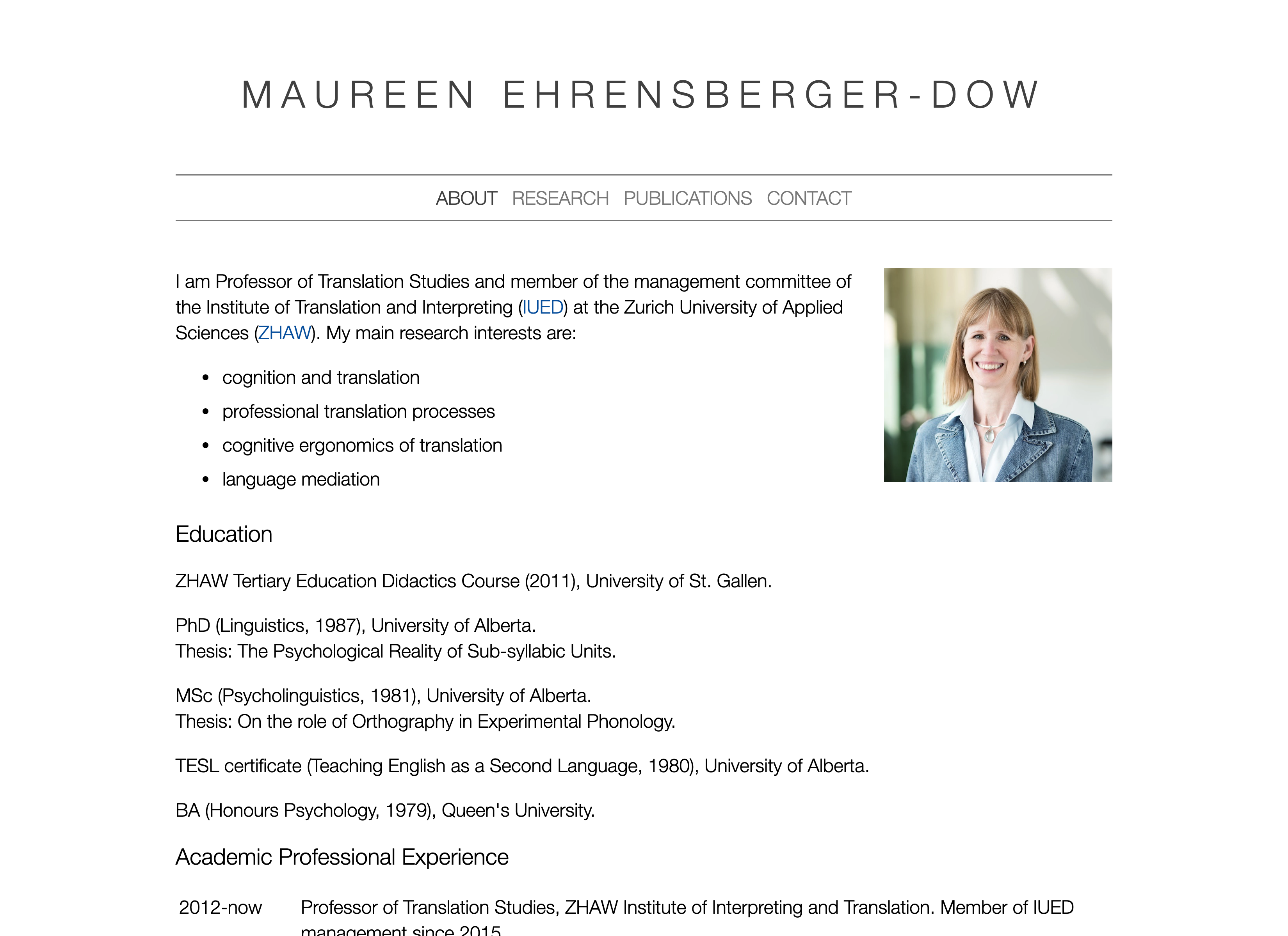 Screenshot of Maureen Ehrensberger-Dow's website