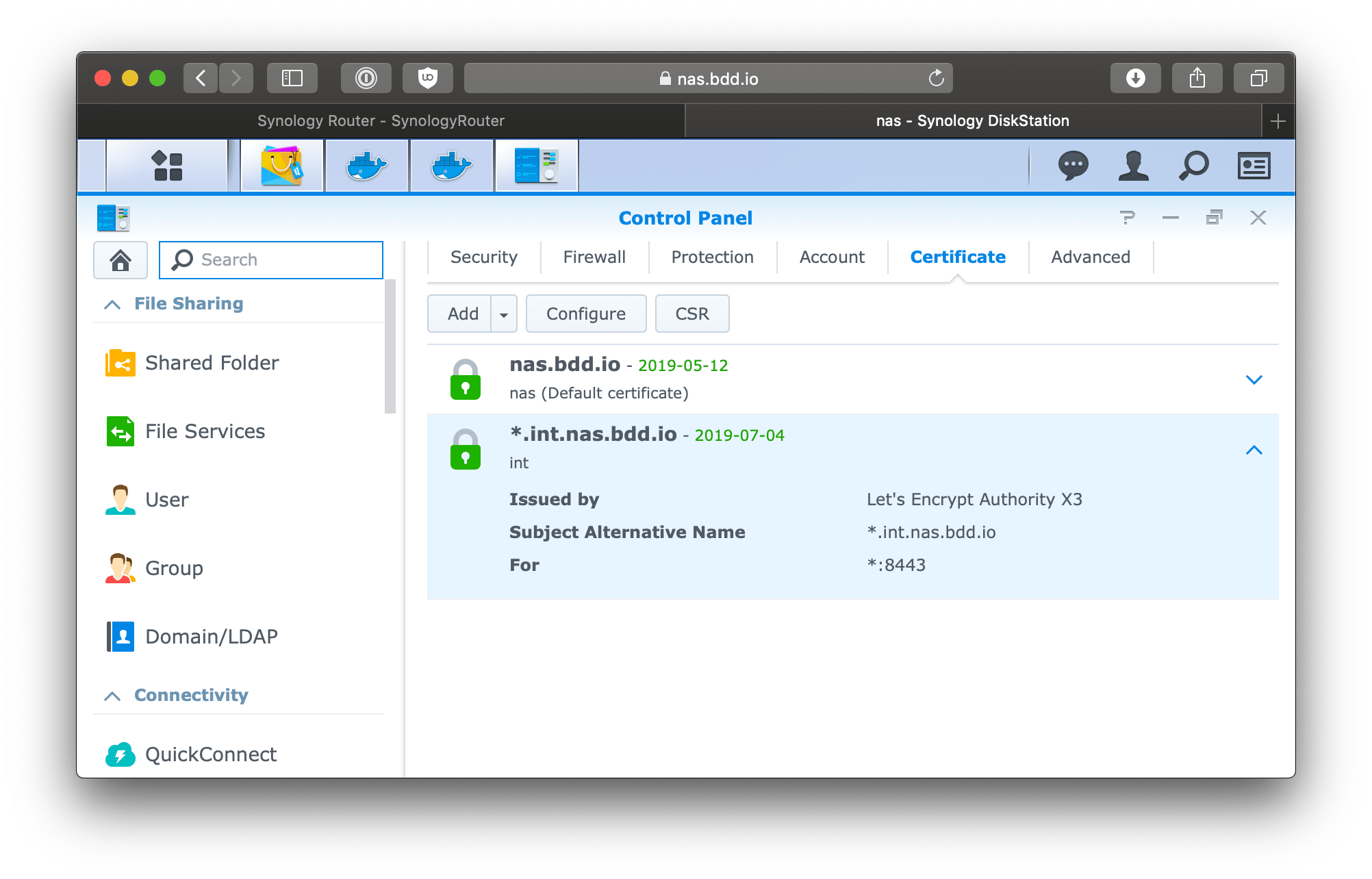 Synology assign wildcard certificate