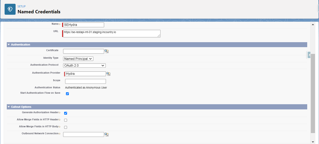 Select the authentication provider
