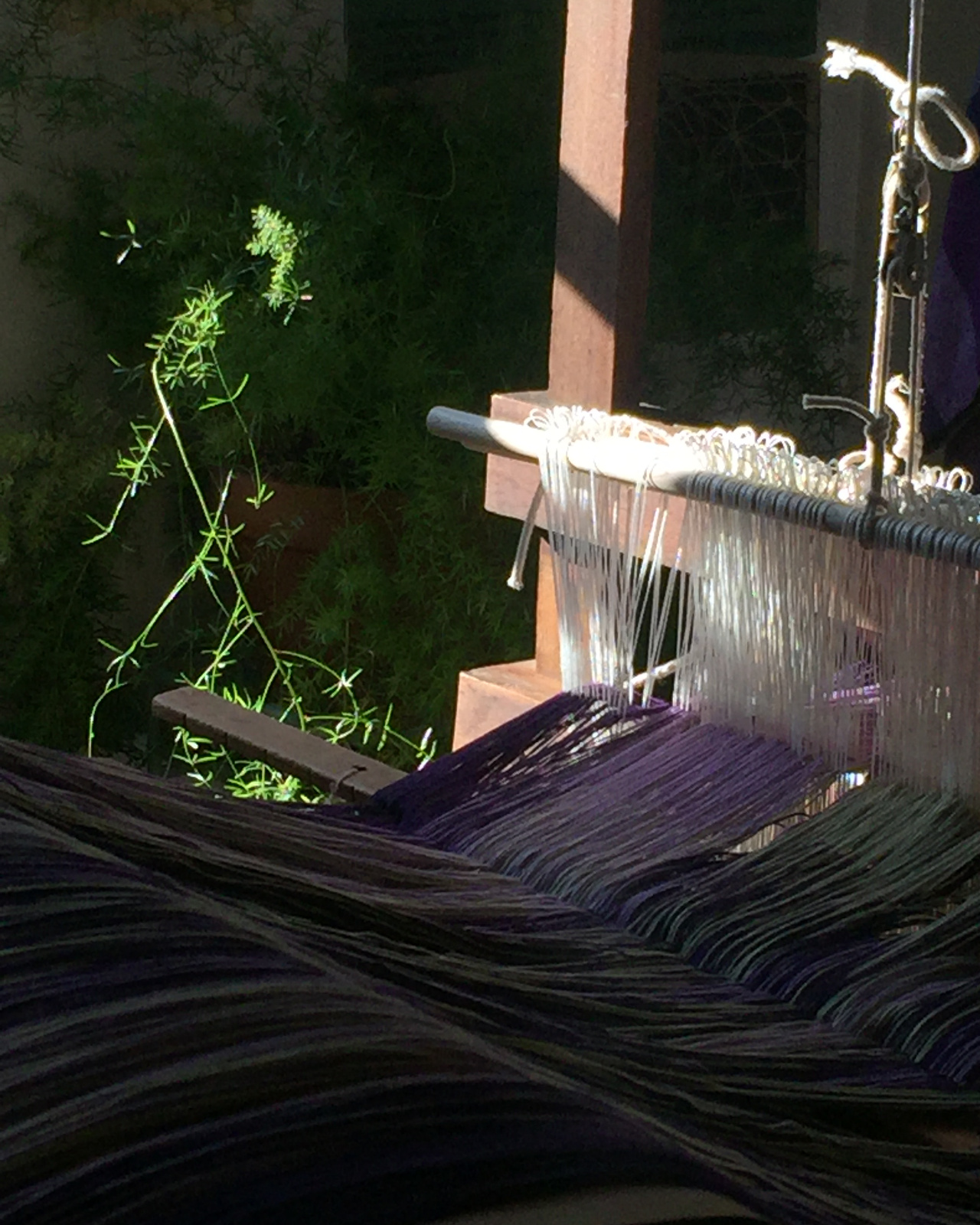 Setting up the loom for rugs