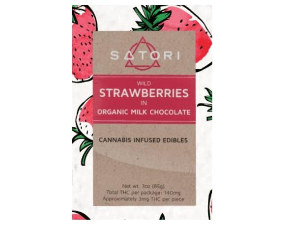 Satori wild strawberries in organic milk chocolate