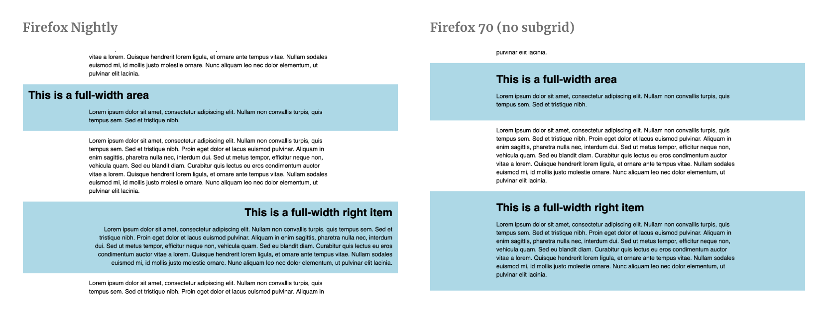 A comparison of Firefox Nightly vs Firefox 70 and how this support query looks