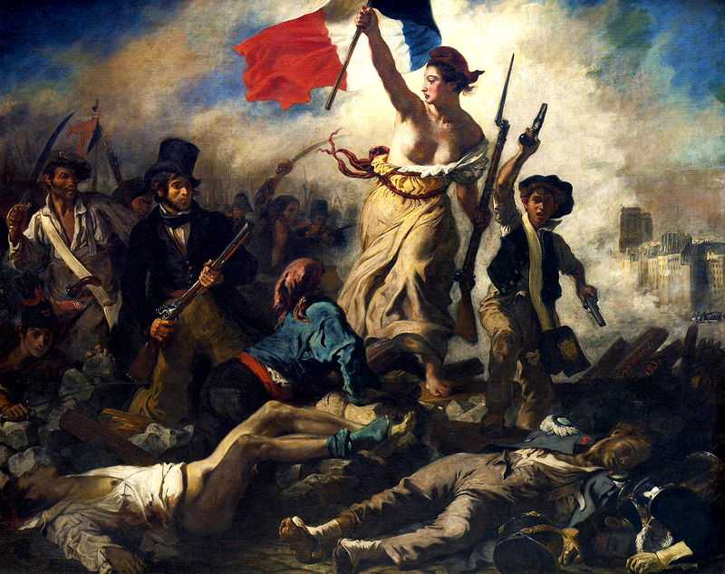 Liberty Leading the People (1830), painted by Eugene Delacroix, Louvre, Paris. Commemorating the French Revolution of 1830 (July Revolution) on 28 July 1830.