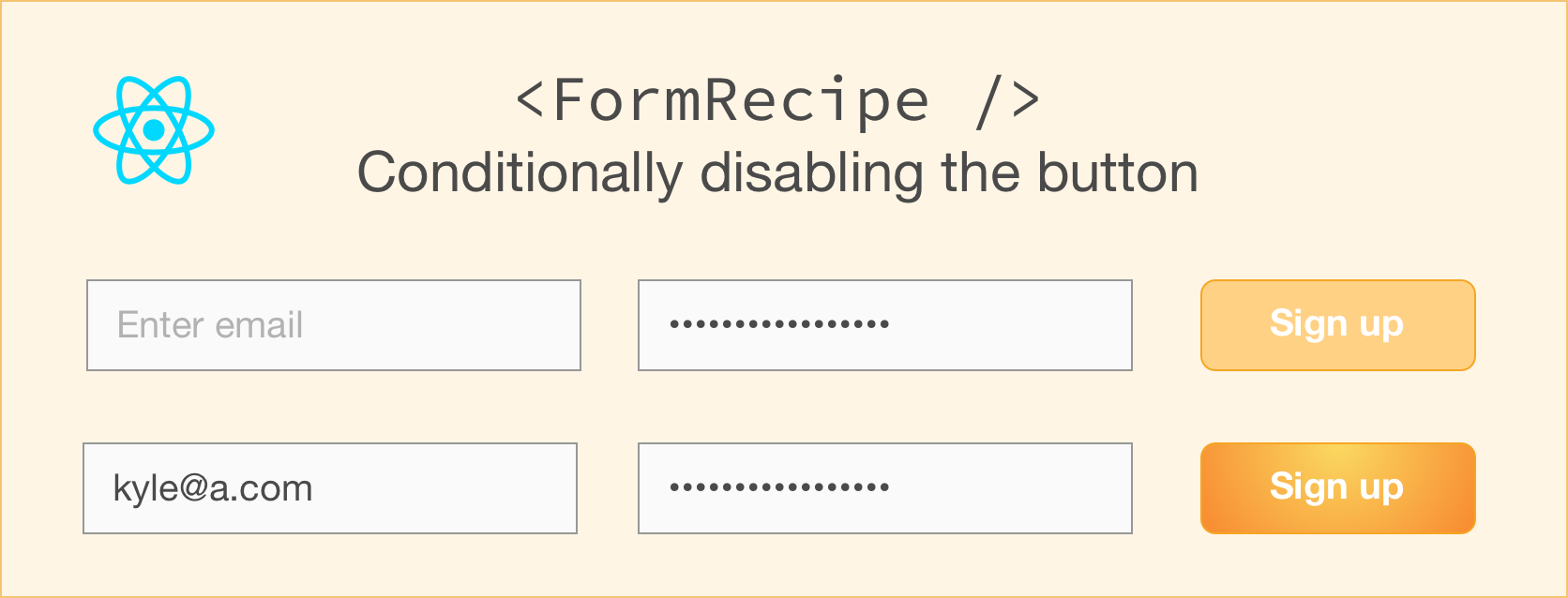 Form recipe: Conditionally disabling the Submit button