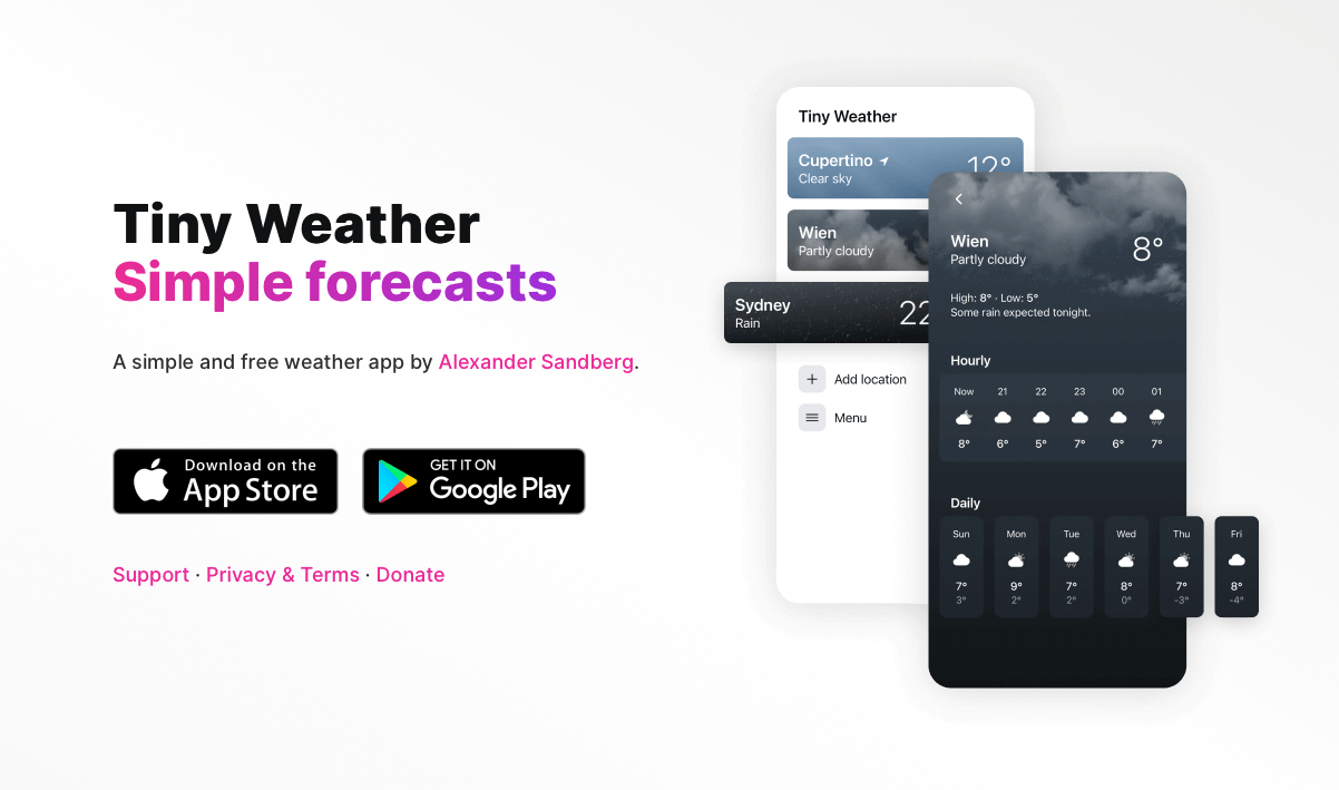 The tinyweather.app landing page
