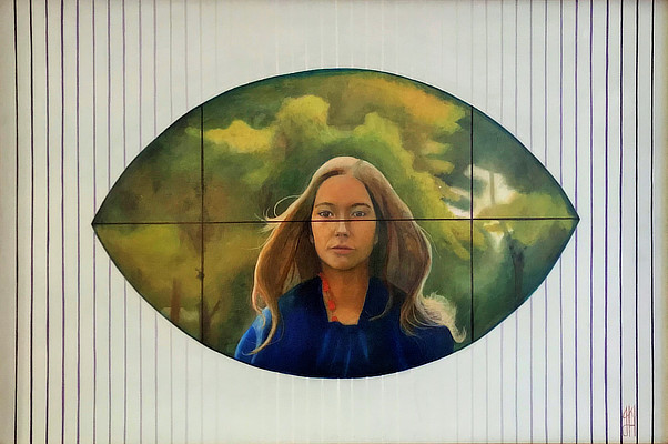 painting with central oval shape section of woman with trees behind