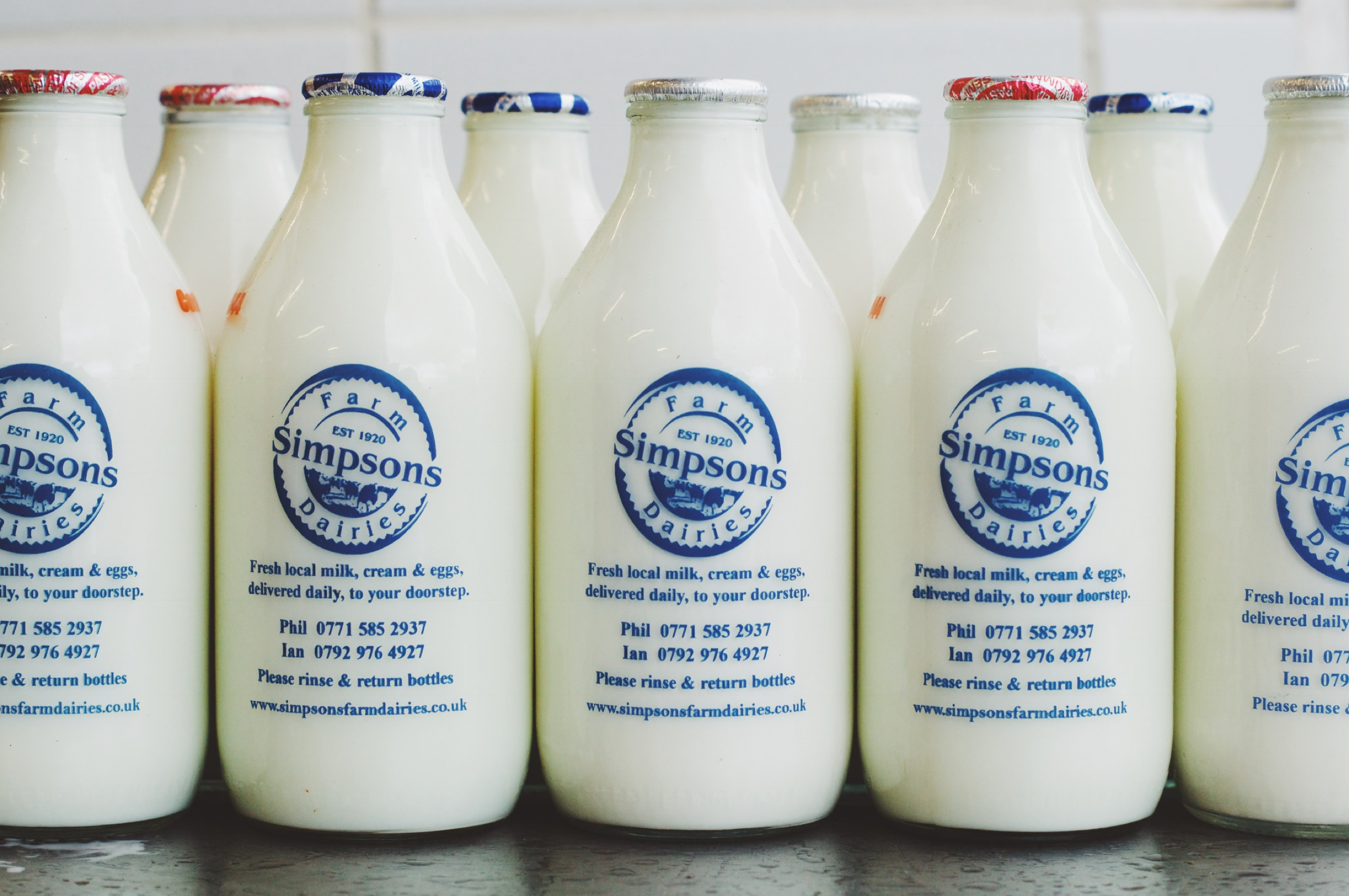 Simpsons Farm Dairies glass milk bottles