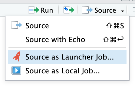 Source script as launcher job