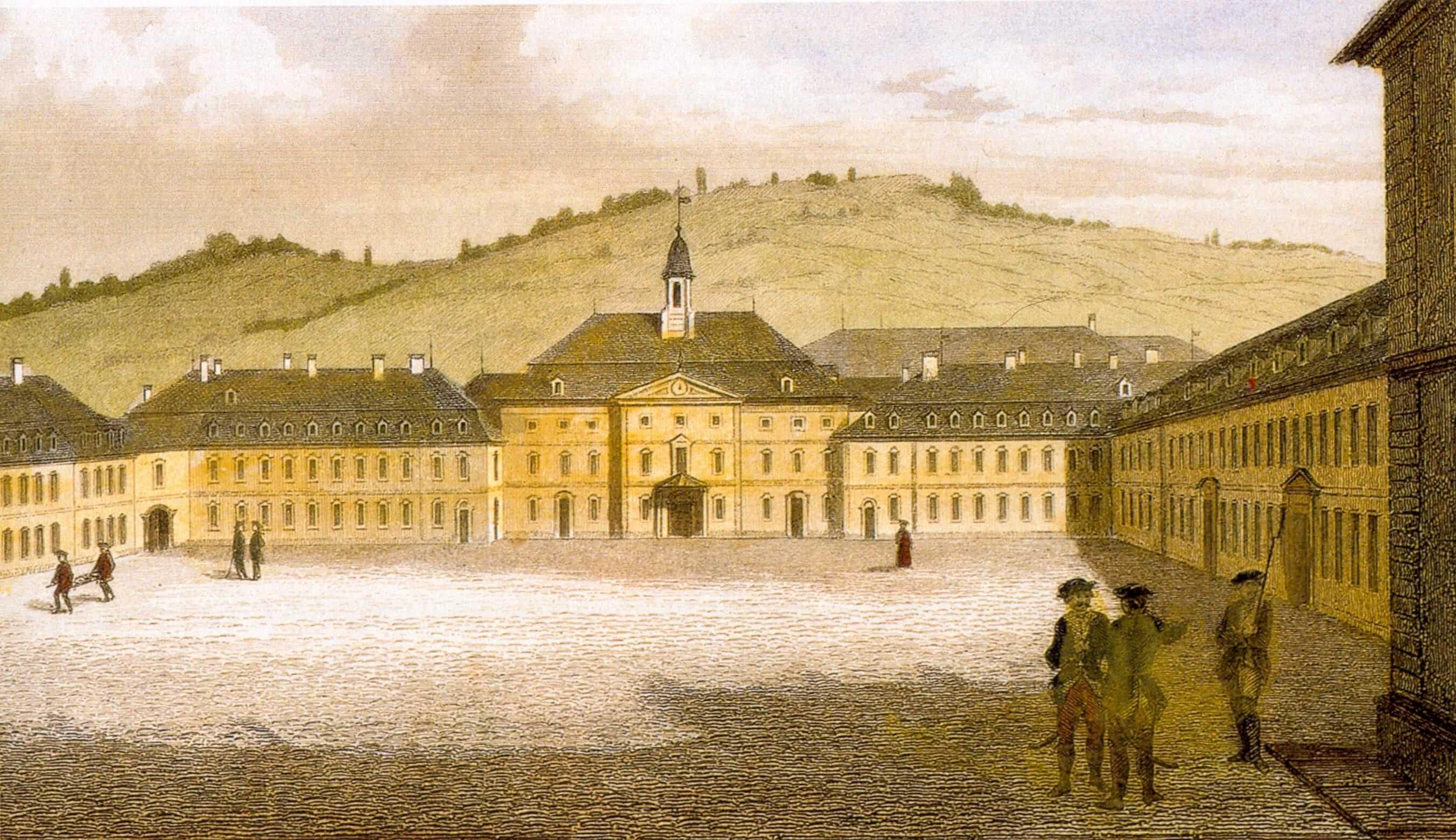 Высшая школа Карла в Штутгарте (действует до сих пор), в которой учился Фридрих Шиллер. Цветная гравюра по рисунку Карла Филиппа Конца, XVIII век. Источник: wikipedia.org