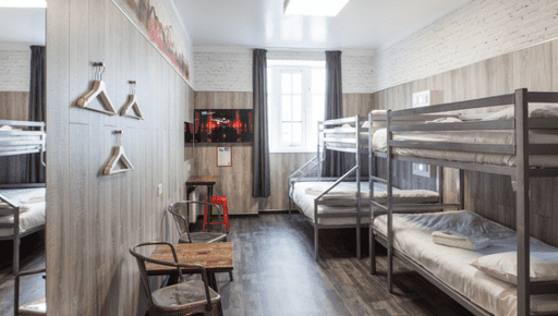 UK Chain Euro Hostel room, bunkbeds, table, chairs, shelves, coat hangers, door, windows, accommodation. #business