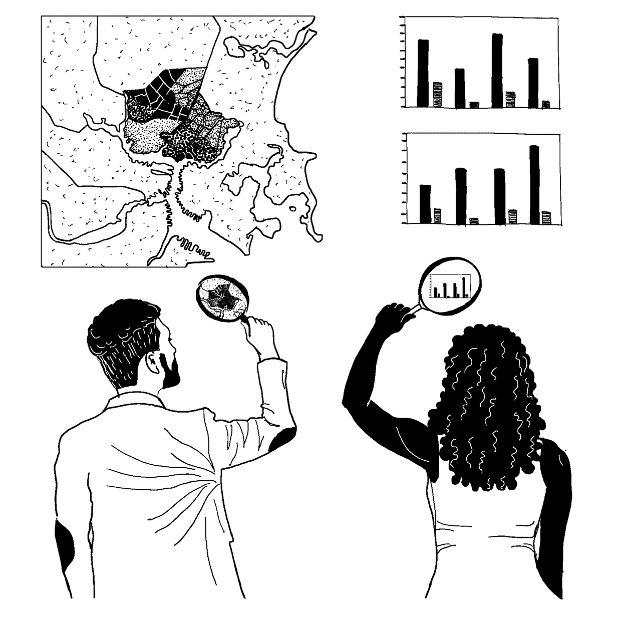 Line drawing showing two people standing in front of a wall, each holding magnifying glasses. Maps and charts are displayed on the wall, and the two people are examining them with their magnifying glasses.