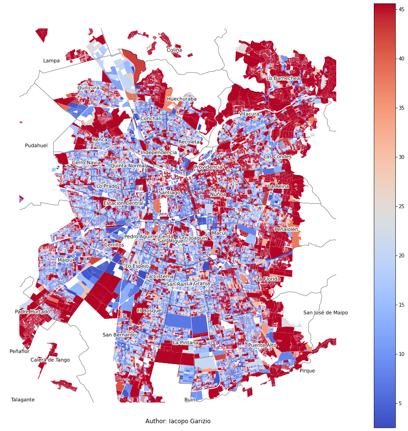 Summed distance to the nearest stop or station in Santiago