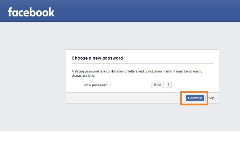 Facebook Recovery via SMS: Setting new password