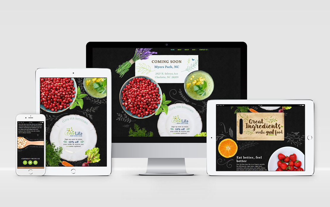 Responsive web design for One Life Raw Juice Bar