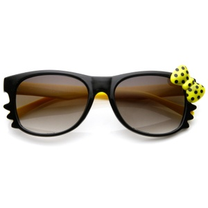 Hello Kitty Black Double Yellow Polka Dot Bow Sunglasses