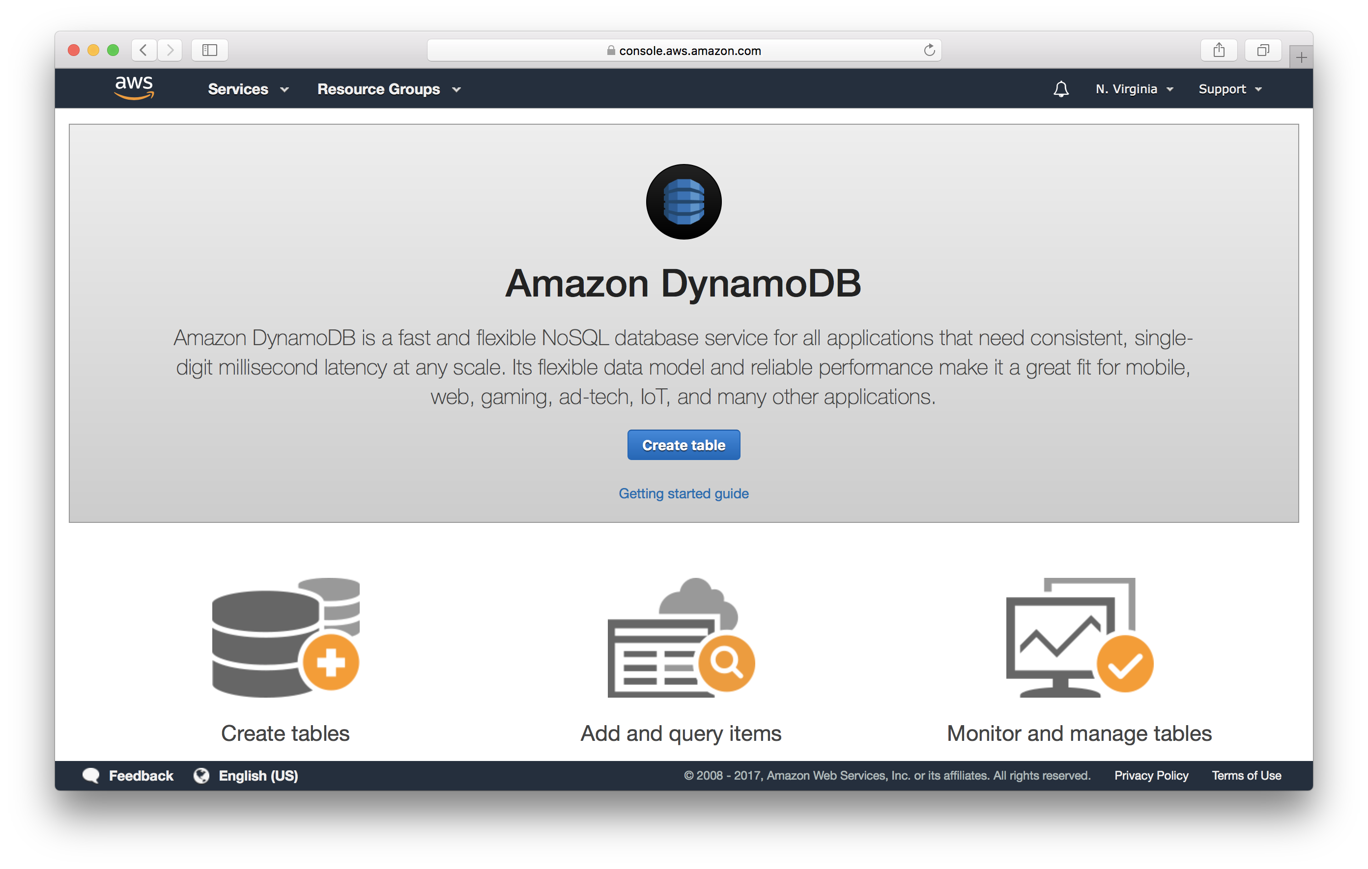 Create DynamoDB Table screenshot