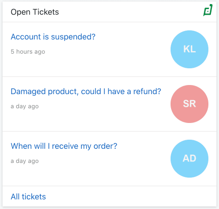 Get a quick overview of Zoho Desk tickets assigned to you, ordered by priority. You can click on each ticket from within Digital Assistant to open it in Zoho Desk.