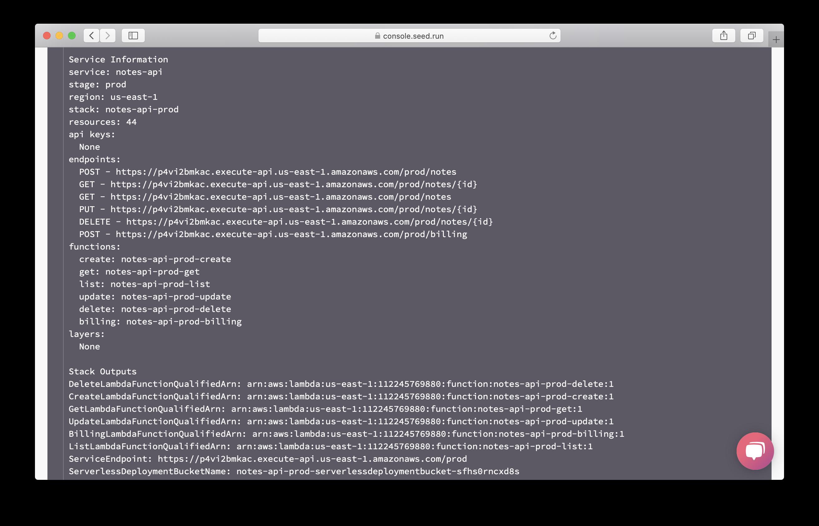 Prod build api output screenshot