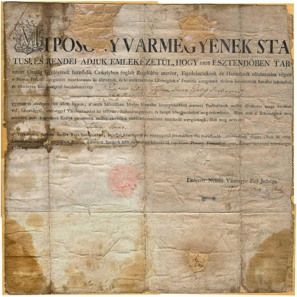 Historická listina z augusta 1810 z Bratislavy, v starej maďarčine