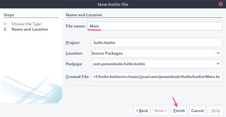 Memberikan nama file kotlin