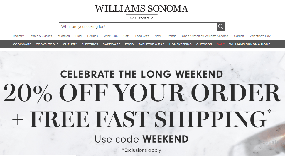 Williams sonoma 20% offer