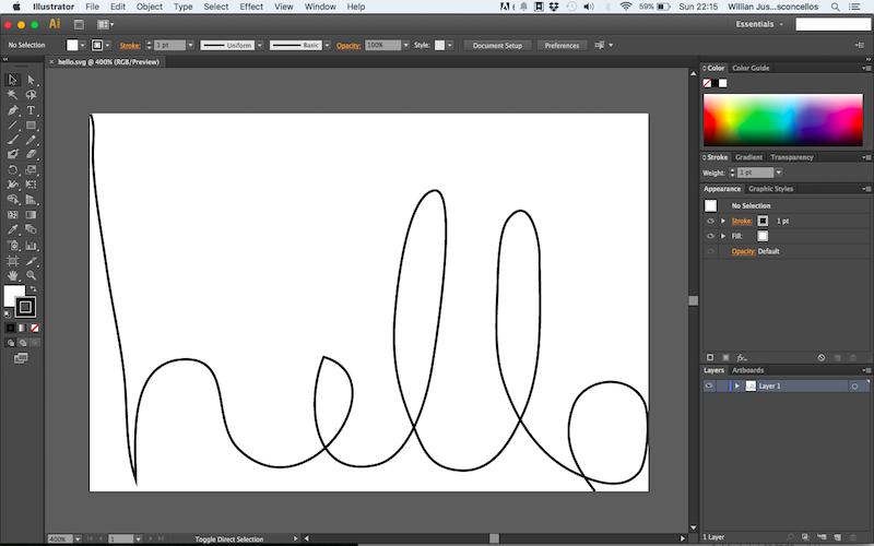 Imagem mostrando um Hello escrito no Illustrator