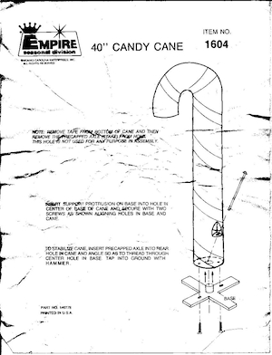 Empire Candy Cane #1604 Instruction Manual.pdf preview