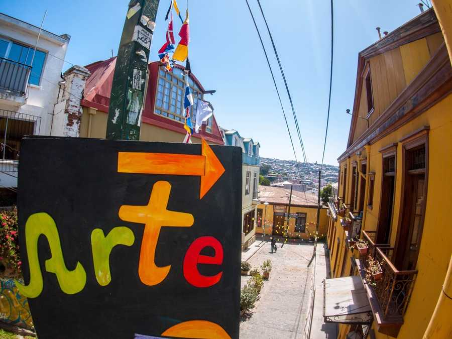 A colorful sign leading the way to galleries and colorful streets