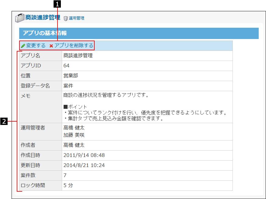 アプリの基本情報画面を説明する番号付き画像