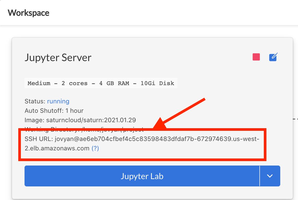Screenshot of Jupyter Server card with server running, arrow pointing to SSH URL shown, with box encircling it