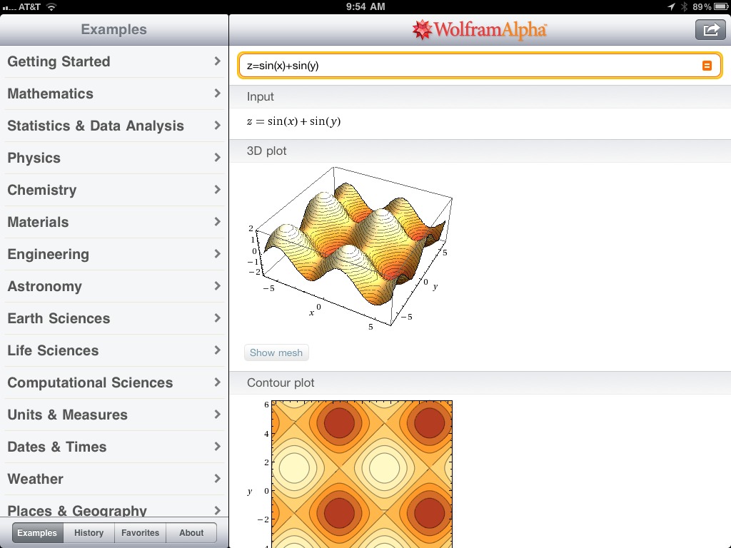 Graphing on iPad with Wolfram Alpha