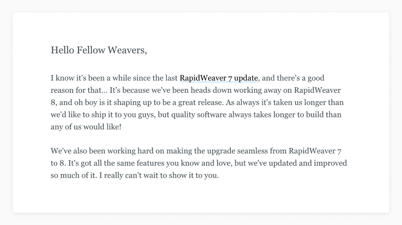 Rapidweaver announcement