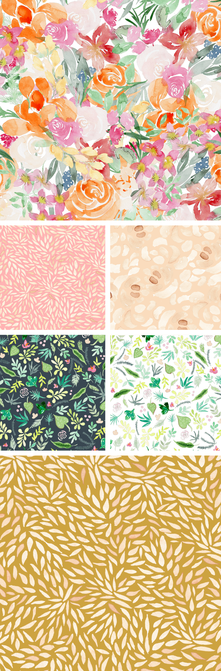 Spoonflower watercolor patterns by One and Only Paper