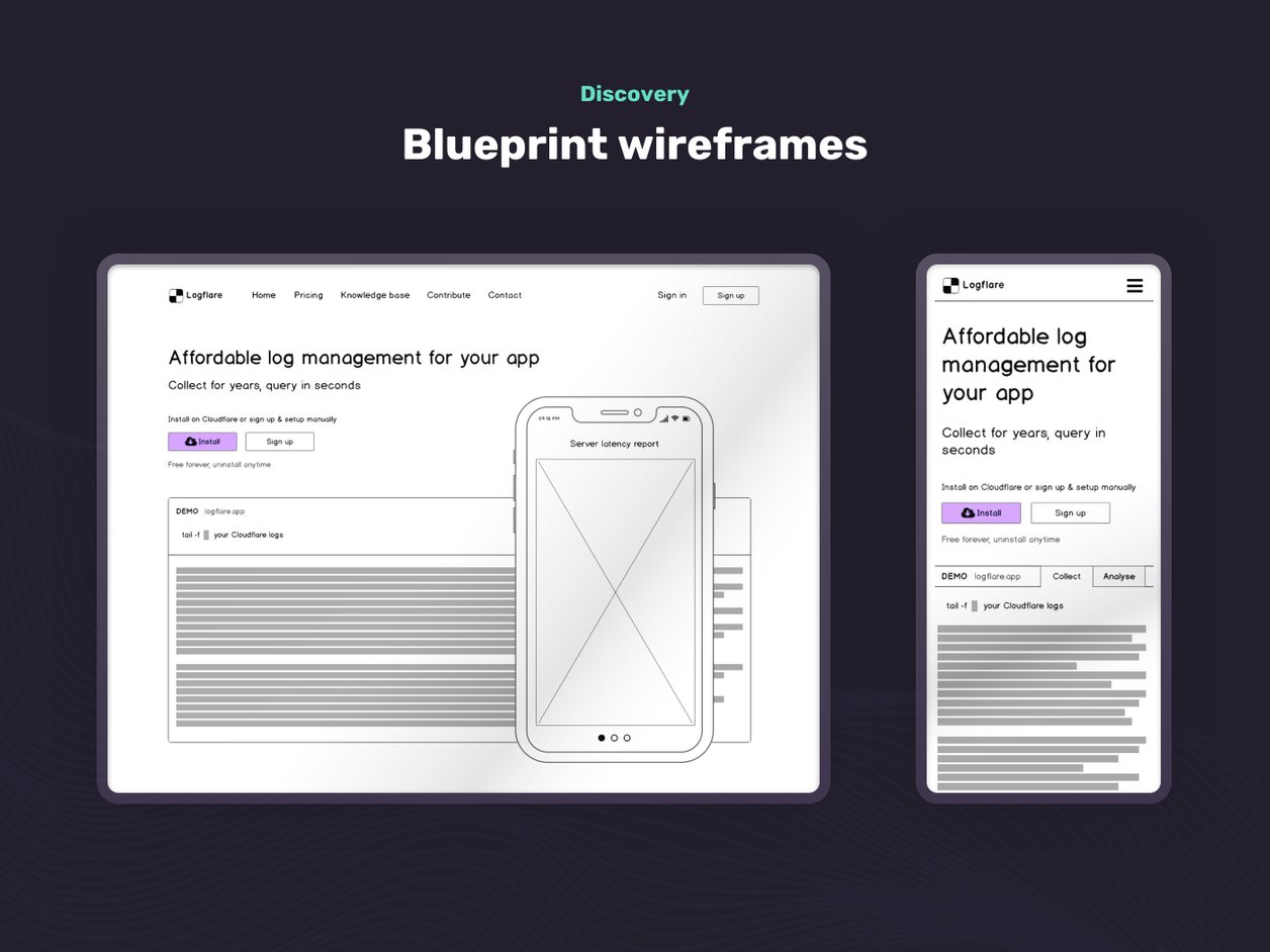 Wireframes and Low Fidelity Prototype - UI Design | Logflare