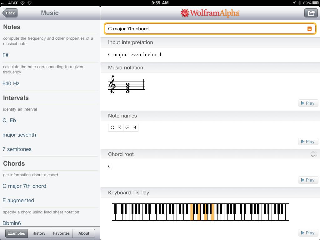 Music on iPad Wolfram Alpha