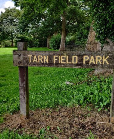 Wooden sign with yellow writing 'Yeadon Tarn Park', with grass behind.