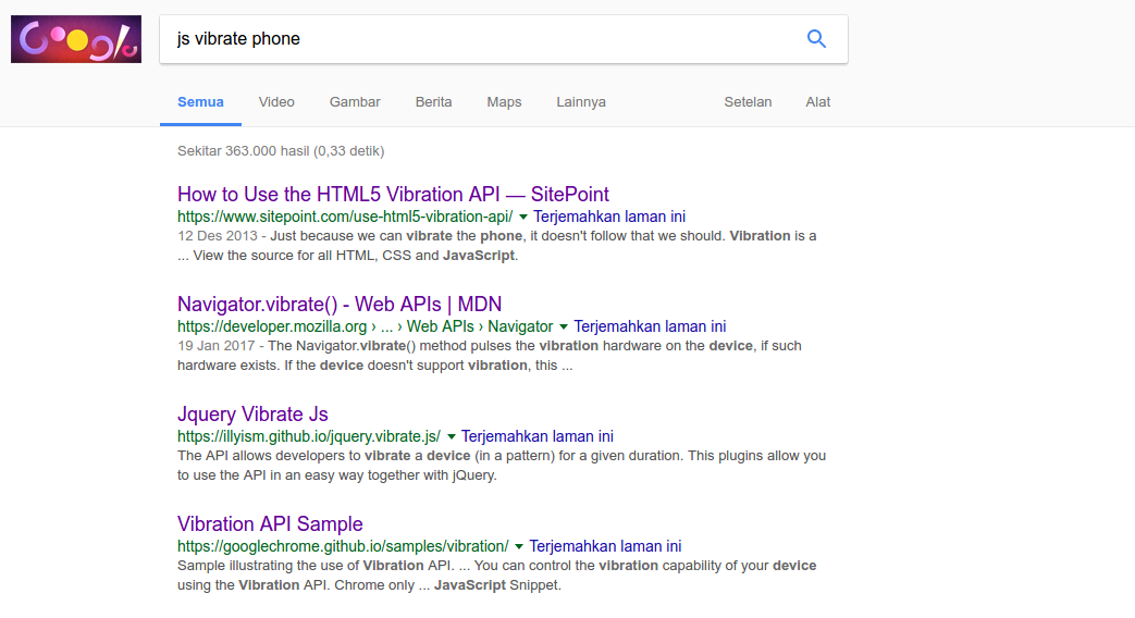 Googling about the HTML5 vibration API