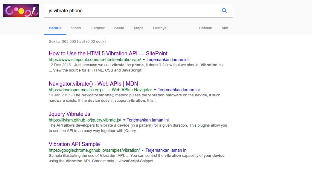 Googling tentang HTML5 vibration API