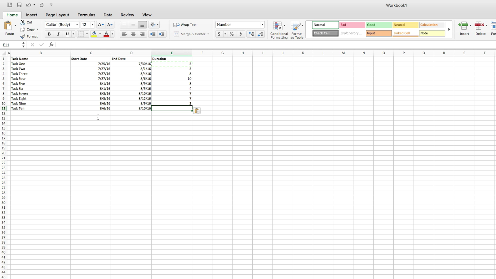 How to make a gantt chart in 5 minutes or less teamgantt insert a stacked bar chart from the insert menu nvjuhfo Gallery