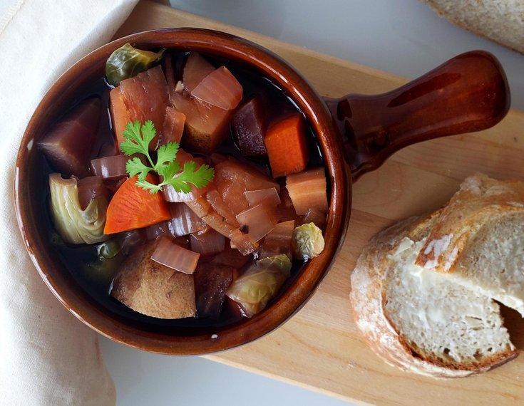 Portobello mushroom dark ale stew
