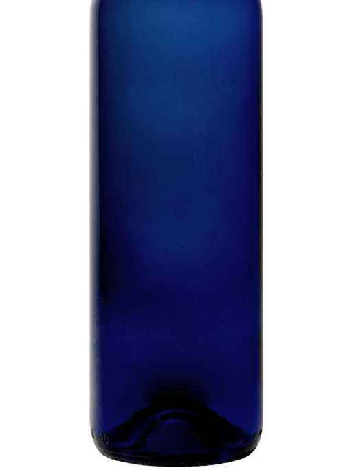 Blank blue wine bottle for custom etching